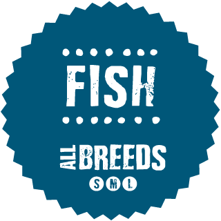 Complete dry dog food with <b>fresh fish</b> for adult dogs of all breeds